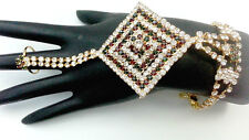 INDIAN GOLDPLATED JEWELRY BRIDAL WEAR BRACELET CZ ATTACHED RING PANJA 1Pc #366