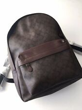 Coach Men's Mahogany Brown Signature PVC Charles Backpack 55398 NWT