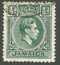 Jamaica Scott# 116, King George VI, Blue-green, ½p, Used, 1938