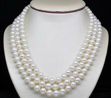 "8-9MM  White Freshwater Culture Round Pearl Necklaces 54""AA"