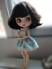 "12"" Neo Blythe Doll Matte Face from Factory Joint Body Nude Doll Dark Brown Hair"