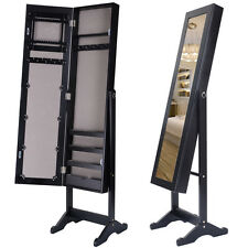 Black Jewelry Mirror Cabinet Mirror Organizer Armoire Storage Box Ring W/Stand