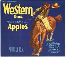 APPLE CRATE BOX LABEL YAKIMA WENATCHEE WESTERN COWBOY VINTAGE ORIGINAL 1940S
