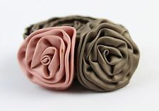 J Crew Bronze Silk Long Belt with 2 Flowers One Size