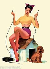 1940s Pin-Up Girl Lighting Dog House Picture Poster Print Vintage Art Pin Up
