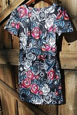 NWT French Connection Black Red White Pink Rose Pattern Dress Size 4
