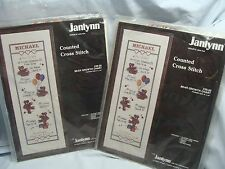 2 Vintage Janlynn 1987 BEAR GROWTH CHART Counted Cross Stitch Kit Children NIP