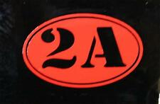 """2A Red - 2nd Amendment Gun Rights -2"""" Oval Decal Sticker for Motorcycle Helmet"""