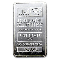 100 oz Johnson Matthey Silver Bar - Pressed Silver Bar - SKU #69946