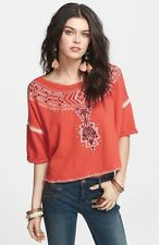 FREE PEOPLE Orange AVALON Embroidered Pullover Cropped Top ~XS~ EUC!