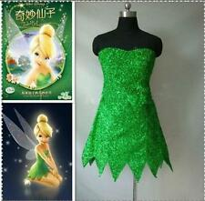 Tinker Bell Cosplay Tinkerbell Dress Green Fairy Pixie cosplay Adult Costume New