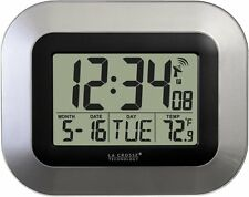 La Crosse Technology WT-8005U-S Atomic Digital Wall Clock Temperature,Silver,NEW