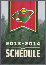 2013-14 MINNESOTA WILD TOYOTA  HOCKEY POCKET SCHEDULE FREE SHIPPING