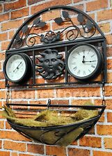GARDEN METAL HANGING PLANT BASKET WALL MOUNTED CLOCK & THERMOMETER OUTDOOR GCTC
