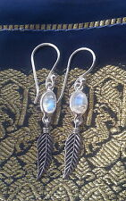 485 Rainbow Moonstone feather earrings solid 925 sterling silver rrp$34.95