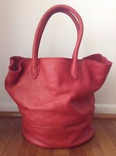 MARGOT brand Red Leather Large Tote Bucket Bag Handbag~Rolled Handles