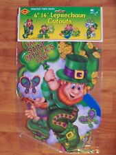 "2002 Beistle 4 Pack 14"" Leprechaun St Patrick Diecuts Cutouts Decoration NOS"