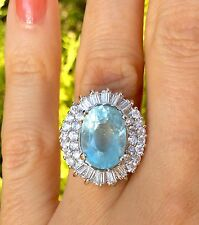 7ct Natural Earth Mined Neon Blue Aquamarine gem Sterling Silver Ring Size 7