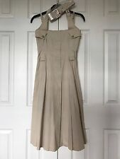 AUTHENTIC $1,095 MAX MARA Pleated BELTED Halter DRESS ITALY 36/2/XS Flared Skirt