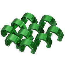 *UK SELLER* 10 X GREEN ALUMINUM CNC BICYCLE C -CLIPS - HOSE CLIPS -10 PACK