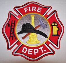 FIRE DEPARTMENT PATCH - HUGE FIREMAN BADGE - 10 INCHES