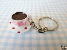 CUTE WHITE CUP OF TEA/COFFEE KEYRING/Keychain/bag charm