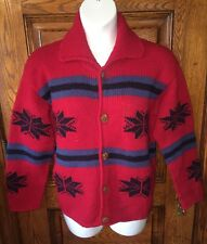 Rare REY WEAR Thick 100% Wool Cardigan COAT SWEATER Hand Knit in Bolivia, M/L