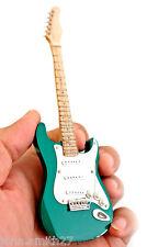 """Wooden Intricate Miniature Guitar Green Super Mini 6"""" Fridge Magnet & Stand"""