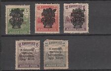 Hungary 1919 Overprints on 5 Old Unused Stamps