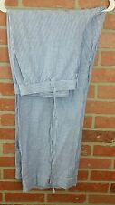 NEW $89 TALBOTS Easy Drawstring Pant Linen Blend Blue/White Striped Size 16 NWT