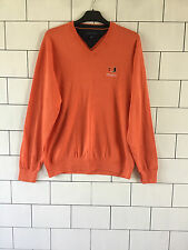 90'S STYLE TOMMY HILFIGER URBAN VINTAGE RETRO KNITTED ORANGE JUMPER PULLOVER L