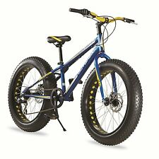"New Outbreak Fat Tire All Terrain Mountain Bike Boys 24"" inch Blue Mud Bicycle"