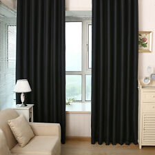 2PCS BLACK SOLID PANEL THERMAL LINED BLACKOUT GROMMET WINDOW CURTAIN DRAPES HOME