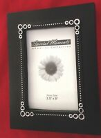 "Black White Dotted 5X7"" Wood Picture FRAME Holds 3.5X3.5"" Photo"