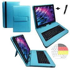 Deutsch Tastatur Hülle - Acer Iconia One 10 10.1 Zoll Tablet Tasche Cover türkis