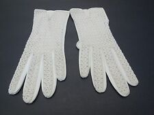 *NEW VINTAGE ZURRO LADIES CREAM LEATHER & STRETCH KNIT GLOVES UNLINED SIZE 7