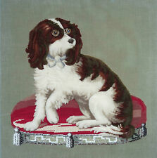 ANTIQUE BERLIN WOOL PLUSHWORK & BEAD EMBROIDERY of a SPANIEL DOG on a CUSHION