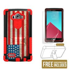 Tri Shield Phone Case for LG G4 w/ kickstand & screen protector - USA Flag