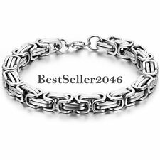 Silver Stainless Steel Square Mechanic Byzantine Link Chain Mens Cuff Bracelet
