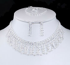 New Silver Wedding/Bridal Necklace/Earring/Bracelet/Ring Sets Acrylic Rhinestone