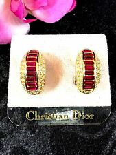 NWT COUTURE CHRISTIAN DIOR GP RUBY RED BAGUETTE CRYSTAL RHINESTONE CLIP EARRINGS