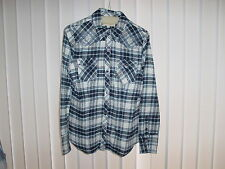 Women's Stetson Western Wear Shirt, Small LS, Embroidered, Blue Plaid style.