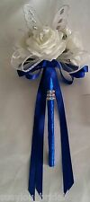 Wedding Flowers Bridesmaids Bouquet Wands White Butterfly Wand Royal Blue Satin