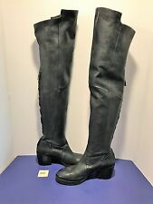 NEW Black Leather ALBERTO FERMANI Thigh High Boots 37 D15