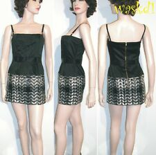 D&G DOLCE & GABBANA 44/8 satin SEQUINS Plaid skirt Sexy MINI dress NWT Authentic