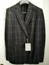 TOM FORD BROWN WINDOWPANE WOOL SILK BLAZER JACKET 48R IT 38R US NEW WITH TAGS