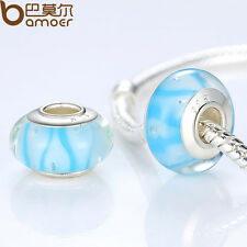Fresh Light Blue European Lampwork Murano Beads Fitting Charm P Bracelet Jewelry