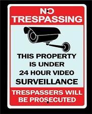 "NO TRESPASSING 24 HOUR VIDEO SURVEILLANCE metal sign- 9""x12"" FREE SHIPPING"