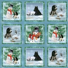 Holiday Pups Dogs Squares Christmas Cotton Quilting Fabric - 60cm x 110cm - SPX