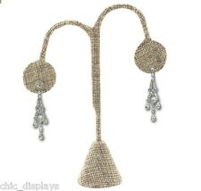 "MODERN BURLAP EARRING DISPLAY STAND EARRING TREE 4 3/4""H EARRING STAND  QUALITY"